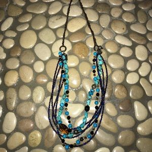 Leather stone beaded necklace